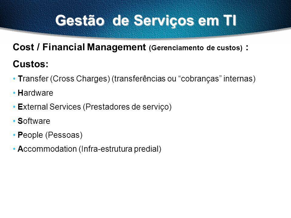 Gestão de Serviços em TI Cost / Financial Management (Gerenciamento de custos) : Custos: Transfer (Cross Charges) (transferências ou cobranças internas) Hardware External Services (Prestadores de serviço) Software People (Pessoas) Accommodation (Infra-estrutura predial)