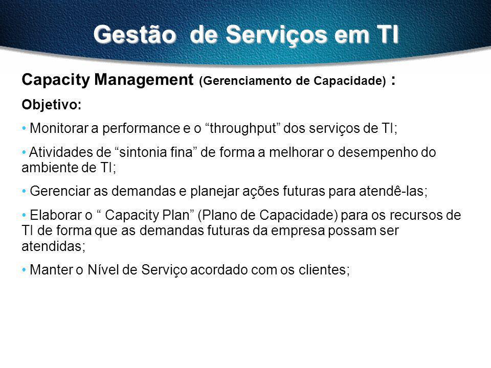Gestão de Serviços em TI Capacity Management (Gerenciamento de Capacidade) : Fatores de Sucesso: Obter informações precisas sobre necessidades futuras do negócio; (Business Forecast).