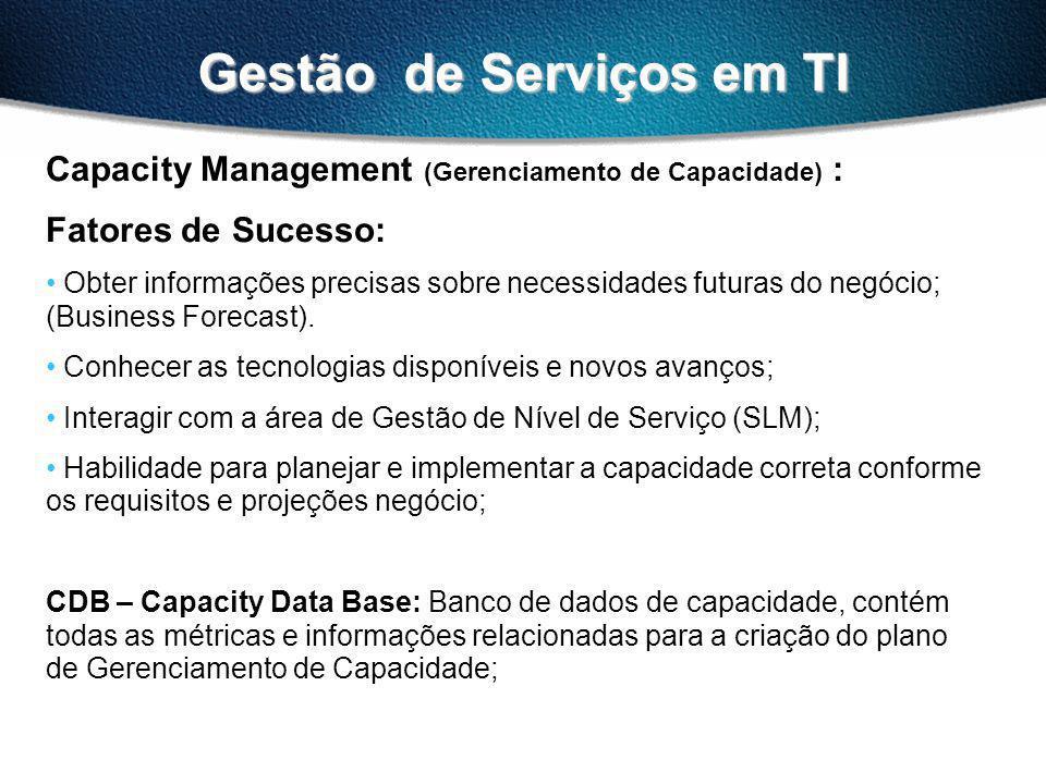 Gestão de Serviços em TI Capacity Management (Gerenciamento de Capacidade) : Importante: Application Sizing: Estimar os recursos e requisitos para suportar uma aplicação, ou uma alteração em uma aplicação, de forma a manter os níveis de serviços requeridos.