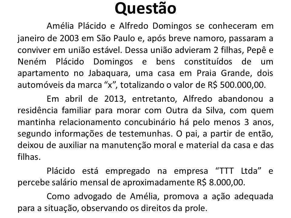 Questão Amélia Plácido e Alfredo Domingos se conheceram em janeiro de 2003 em São Paulo e, após breve namoro, passaram a conviver em união estável. De