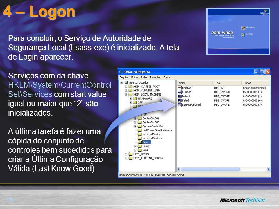 16 Para concluir, o Serviço de Autoridade de Segurança Local (Lsass.exe) é inicializado. A tela de Login aparecer. 4 – Logon Serviços com da chave HKL