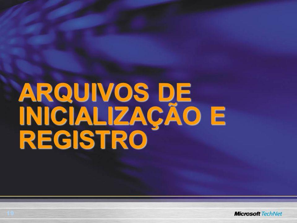 19 ARQUIVOS DE INICIALIZAÇÃO E REGISTRO