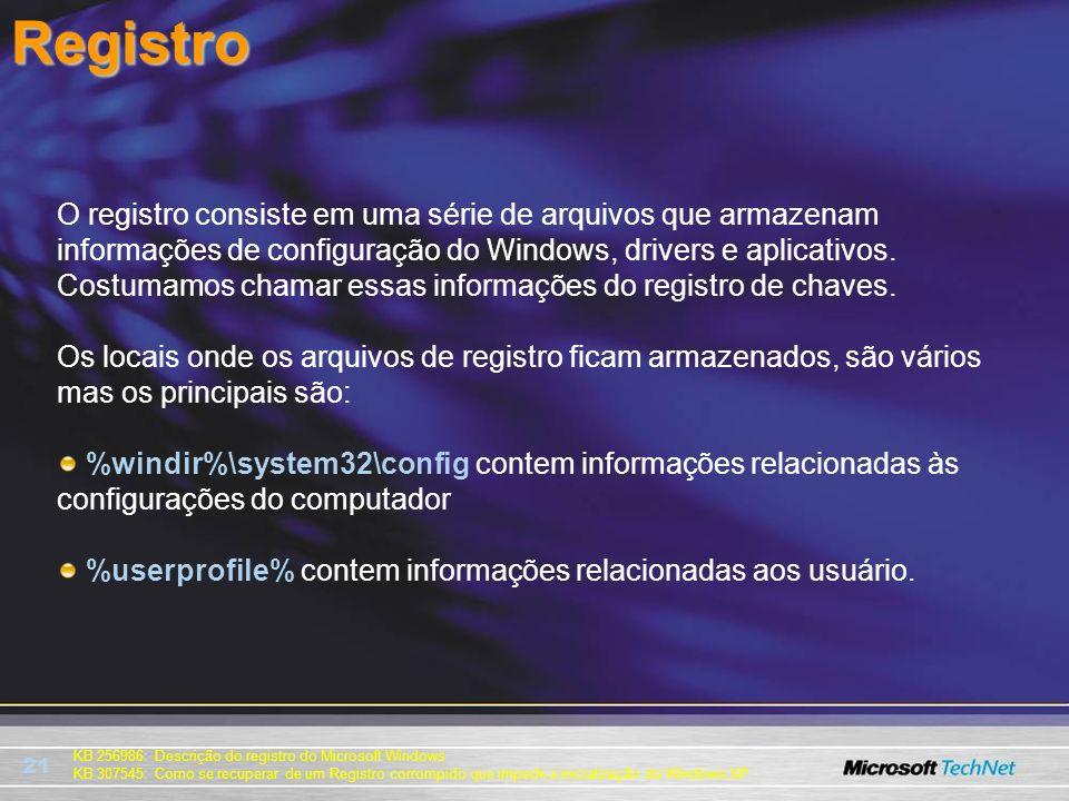 21 KB 256986: Descrição do registro do Microsoft Windows KB 307545: Como se recuperar de um Registro corrompido que impede a inicialização do Windows