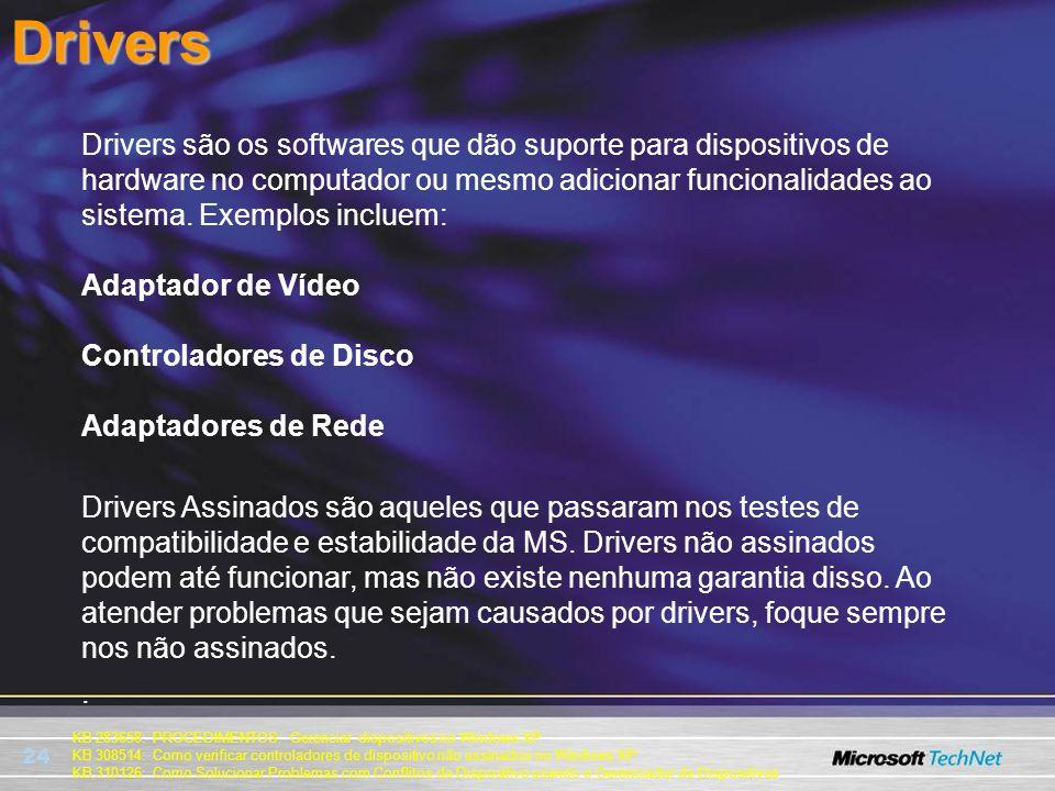 24 KB 283658: PROCEDIMENTOS: Gerenciar dispositivos no Windows XP KB 308514: Como verificar controladores de dispositivo não assinados no Windows XP K
