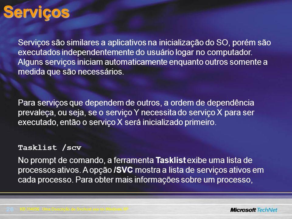 26 KB 314056: Uma Descrição de Svchost.exe no Windows XPServiços Serviços são similares a aplicativos na inicialização do SO, porém são executados ind