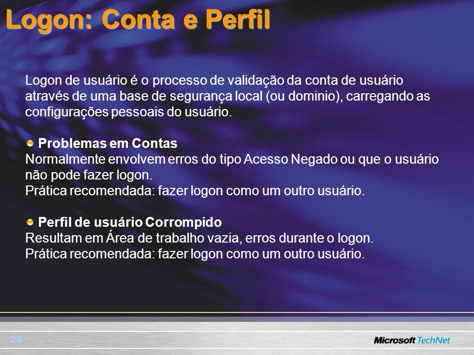 28 Logon: Conta e Perfil Logon de usuário é o processo de validação da conta de usuário através de uma base de segurança local (ou dominio), carregand