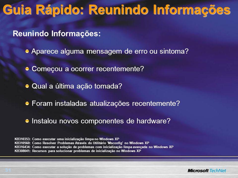 31 Guia Rápido: Reunindo Informações Reunindo Informações: Aparece alguma mensagem de erro ou sintoma? Começou a ocorrer recentemente? Qual a última a