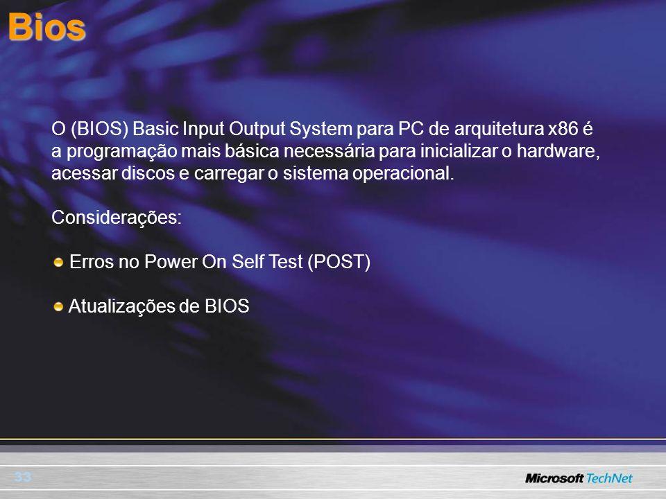 33Bios O (BIOS) Basic Input Output System para PC de arquitetura x86 é a programação mais básica necessária para inicializar o hardware, acessar disco