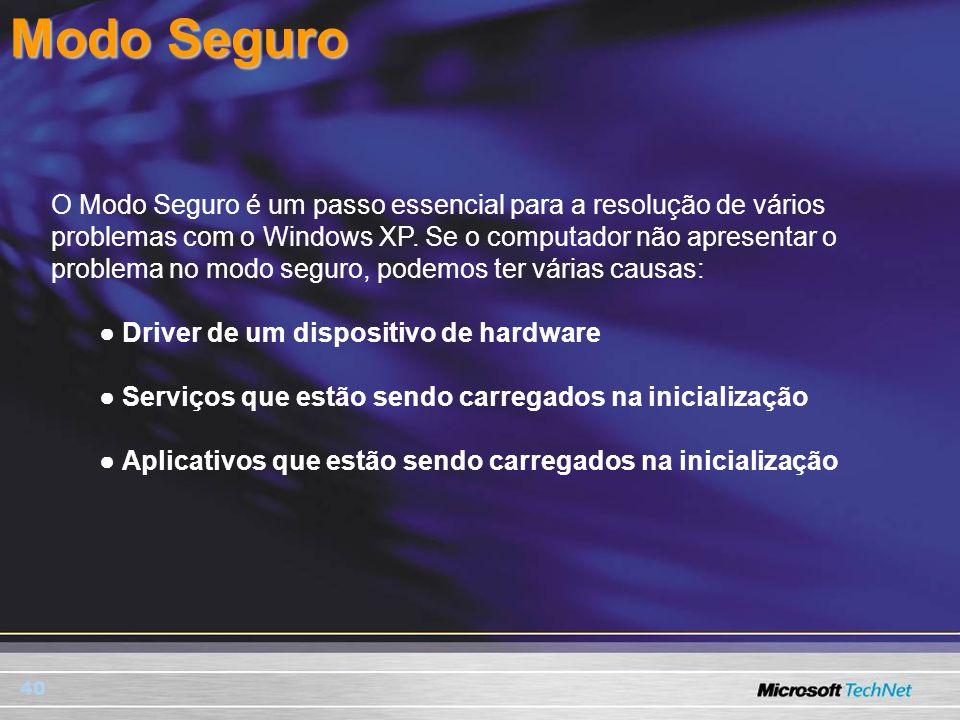 40 Modo Seguro O Modo Seguro é um passo essencial para a resolução de vários problemas com o Windows XP. Se o computador não apresentar o problema no