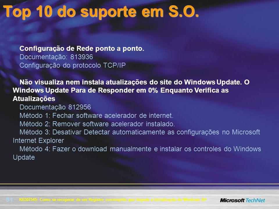 51 KB307545: Como se recuperar de um Registro corrompido que impede a inicialização do Windows XP Top 10 do suporte em S.O. Configuração de Rede ponto