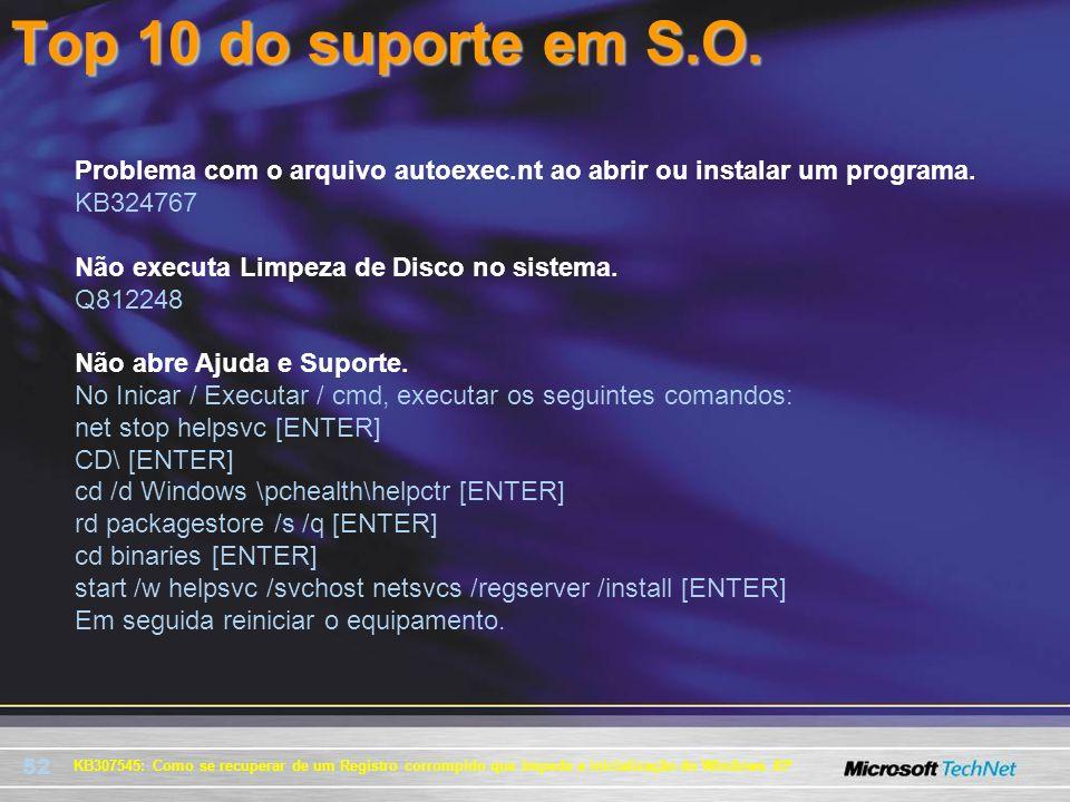 52 KB307545: Como se recuperar de um Registro corrompido que impede a inicialização do Windows XP Problema com o arquivo autoexec.nt ao abrir ou insta