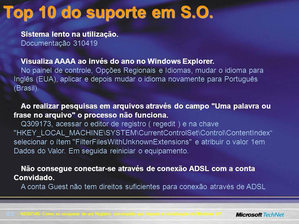 53 KB307545: Como se recuperar de um Registro corrompido que impede a inicialização do Windows XP Sistema lento na utilização. Documentação 310419 Vis