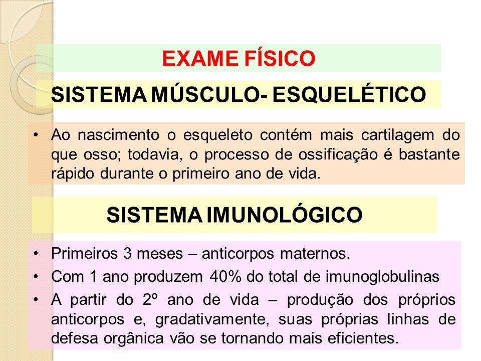 SISTEMA MÚSCULO- ESQUELÉTICO EXAME FÍSICO Ao nascimento o esqueleto contém mais cartilagem do que osso; todavia, o processo de ossificação é bastante