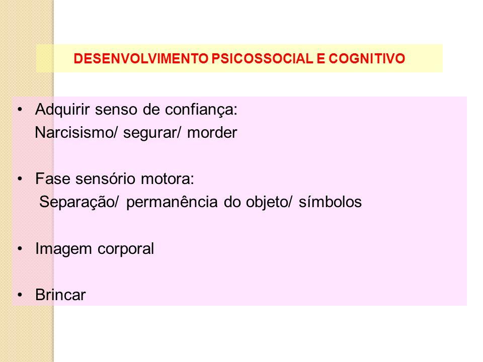 DESENVOLVIMENTO PSICOSSOCIAL E COGNITIVO Adquirir senso de confiança: Narcisismo/ segurar/ morder Fase sensório motora: Separação/ permanência do obje