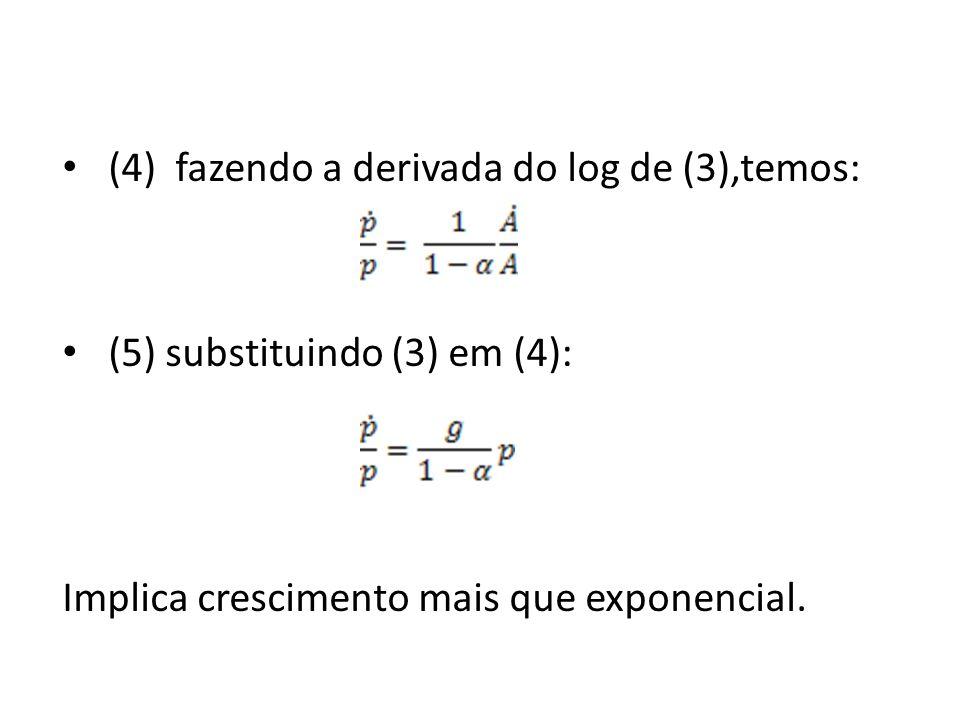(4) fazendo a derivada do log de (3),temos: (5) substituindo (3) em (4): Implica crescimento mais que exponencial.