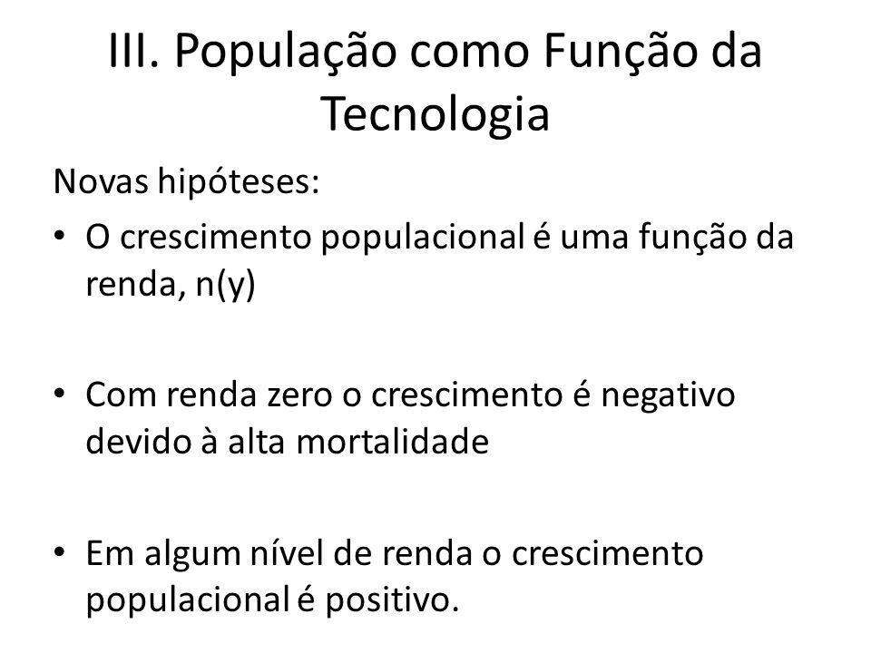 III. População como Função da Tecnologia Novas hipóteses: O crescimento populacional é uma função da renda, n(y) Com renda zero o crescimento é negati