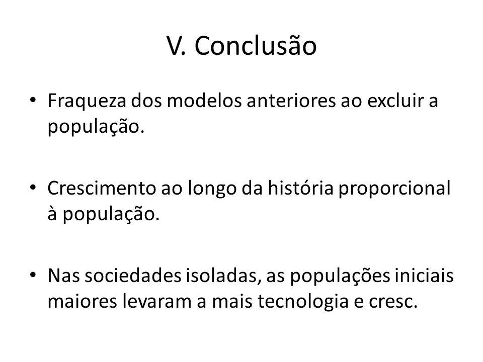 V. Conclusão Fraqueza dos modelos anteriores ao excluir a população.