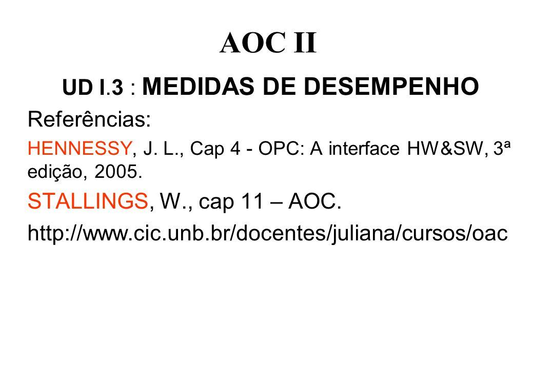 AOC II UD I.3 : MEDIDAS DE DESEMPENHO Referências: HENNESSY, J. L., Cap 4 - OPC: A interface HW&SW, 3ª edição, 2005. STALLINGS, W., cap 11 – AOC. http