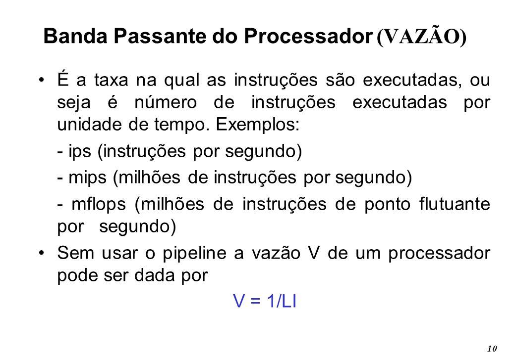 10 Banda Passante do Processador (VAZÃO) É a taxa na qual as instruções são executadas, ou seja é número de instruções executadas por unidade de tempo