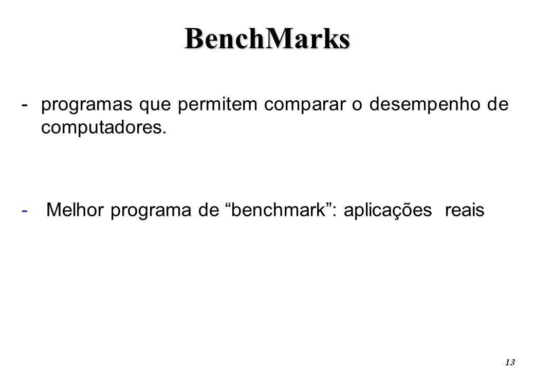13 BenchMarks -programas que permitem comparar o desempenho de computadores. - Melhor programa de benchmark: aplicações reais