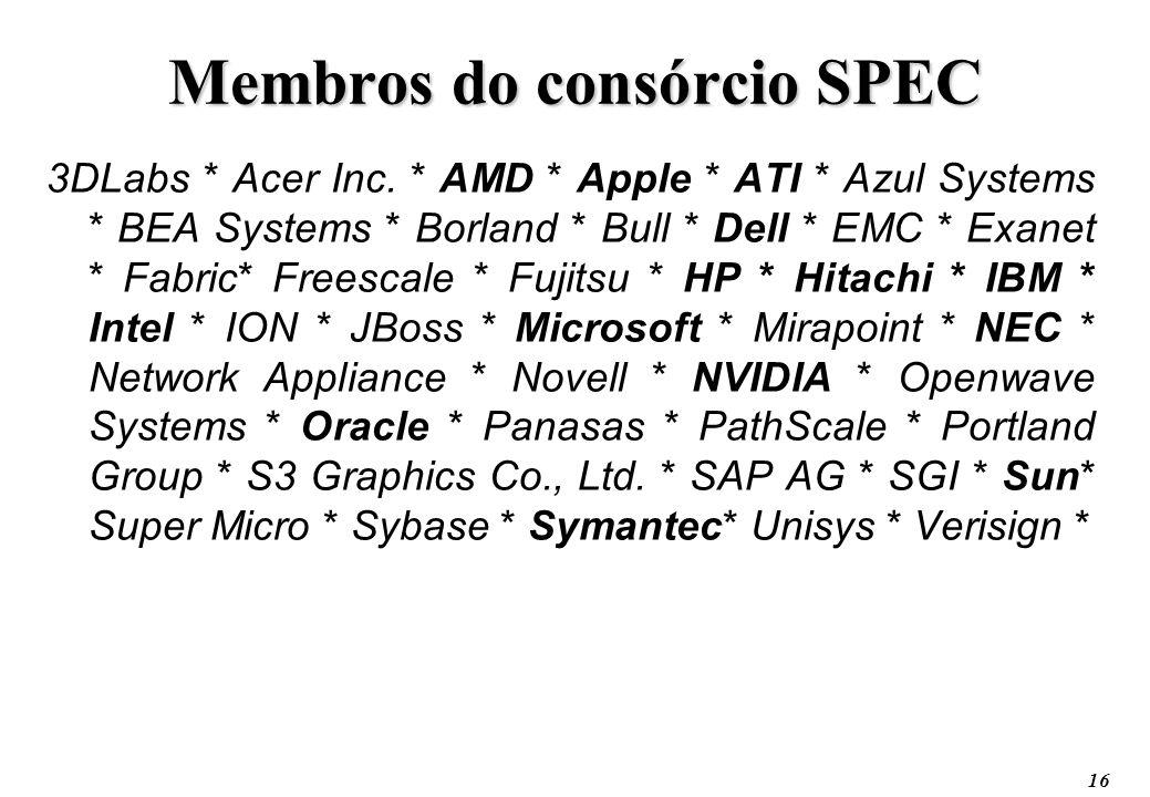 16 Membros do consórcio SPEC 3DLabs * Acer Inc. * AMD * Apple * ATI * Azul Systems * BEA Systems * Borland * Bull * Dell * EMC * Exanet * Fabric* Free