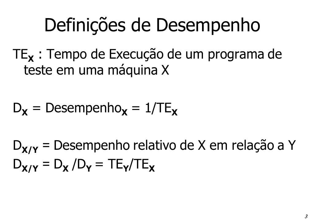 3 Definições de Desempenho TE X : Tempo de Execução de um programa de teste em uma máquina X D X = Desempenho X = 1/TE X D X/Y = Desempenho relativo d