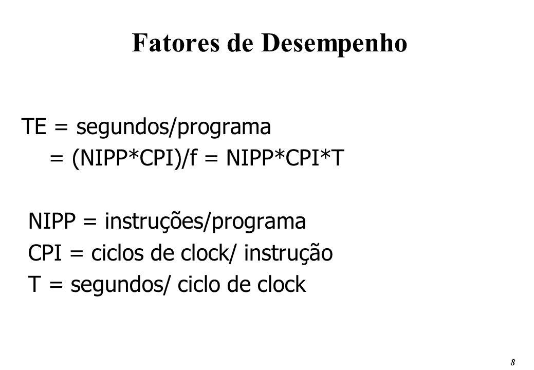 8 Fatores de Desempenho TE = segundos/programa = (NIPP*CPI)/f = NIPP*CPI*T NIPP = instruções/programa CPI = ciclos de clock/ instrução T = segundos/ c