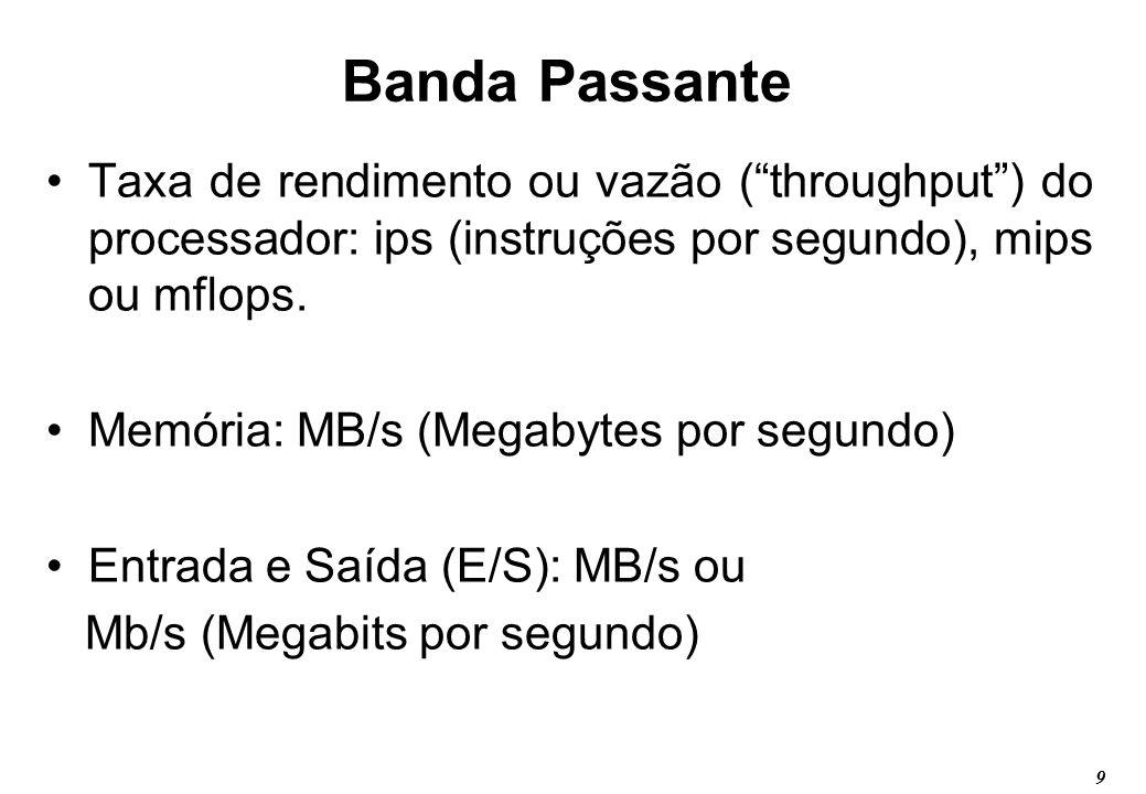 9 Banda Passante Taxa de rendimento ou vazão (throughput) do processador: ips (instruções por segundo), mips ou mflops. Memória: MB/s (Megabytes por s