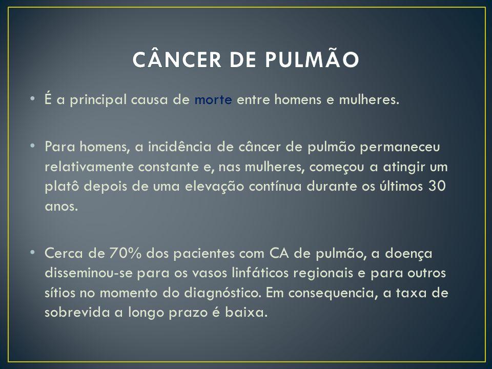 É a principal causa de morte entre homens e mulheres. Para homens, a incidência de câncer de pulmão permaneceu relativamente constante e, nas mulheres