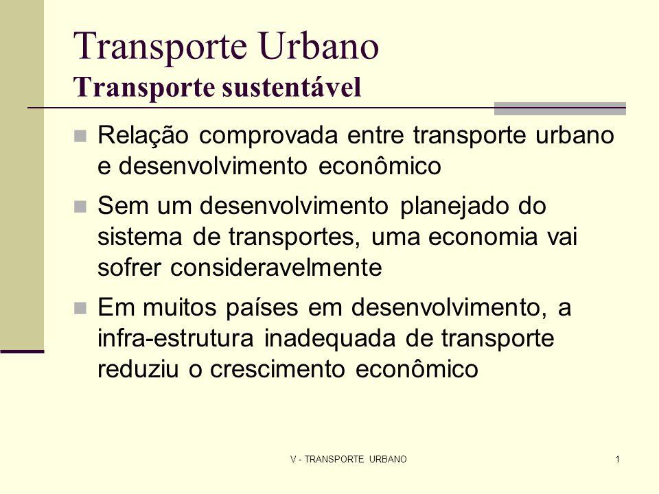 V - TRANSPORTE URBANO2 Transporte Urbano Transporte sustentável ENFOQUE TRADICIONAL Mais infra-estrutura para automóveis Mais espaço para veículos motorizados Congestionamentos: Horas de trabalho que se gastam no tráfego (afetam PIB) Dano ambiental considerável Menor atratividade da cidade