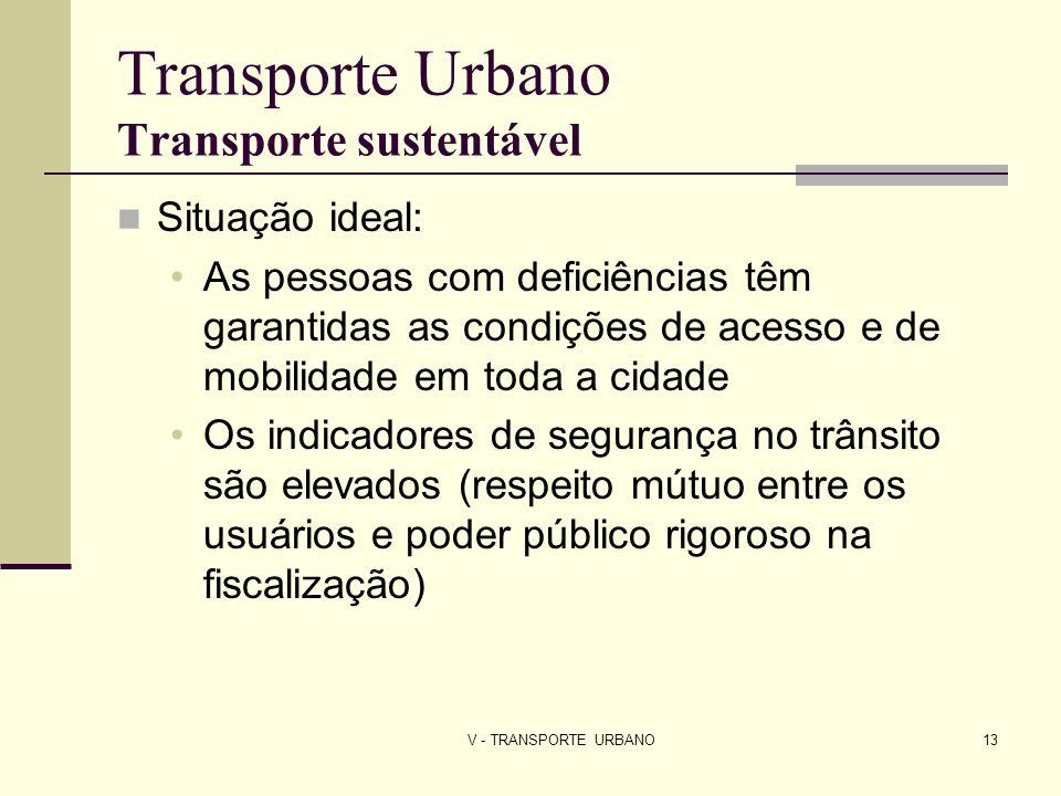 V - TRANSPORTE URBANO13 Transporte Urbano Transporte sustentável Situação ideal: As pessoas com deficiências têm garantidas as condições de acesso e d