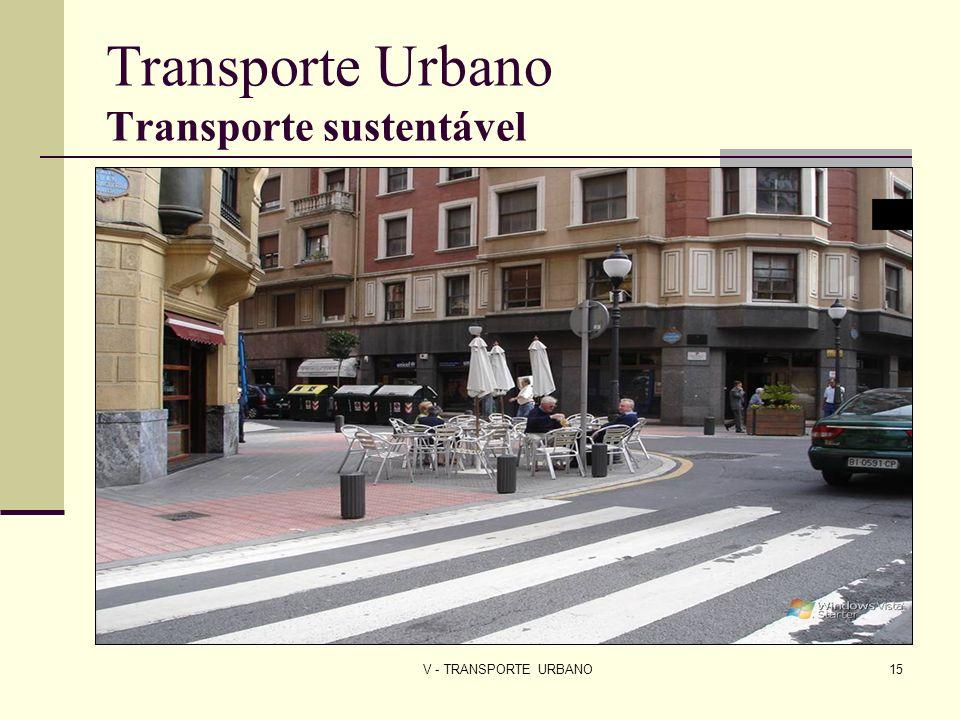 V - TRANSPORTE URBANO15 Transporte Urbano Transporte sustentável