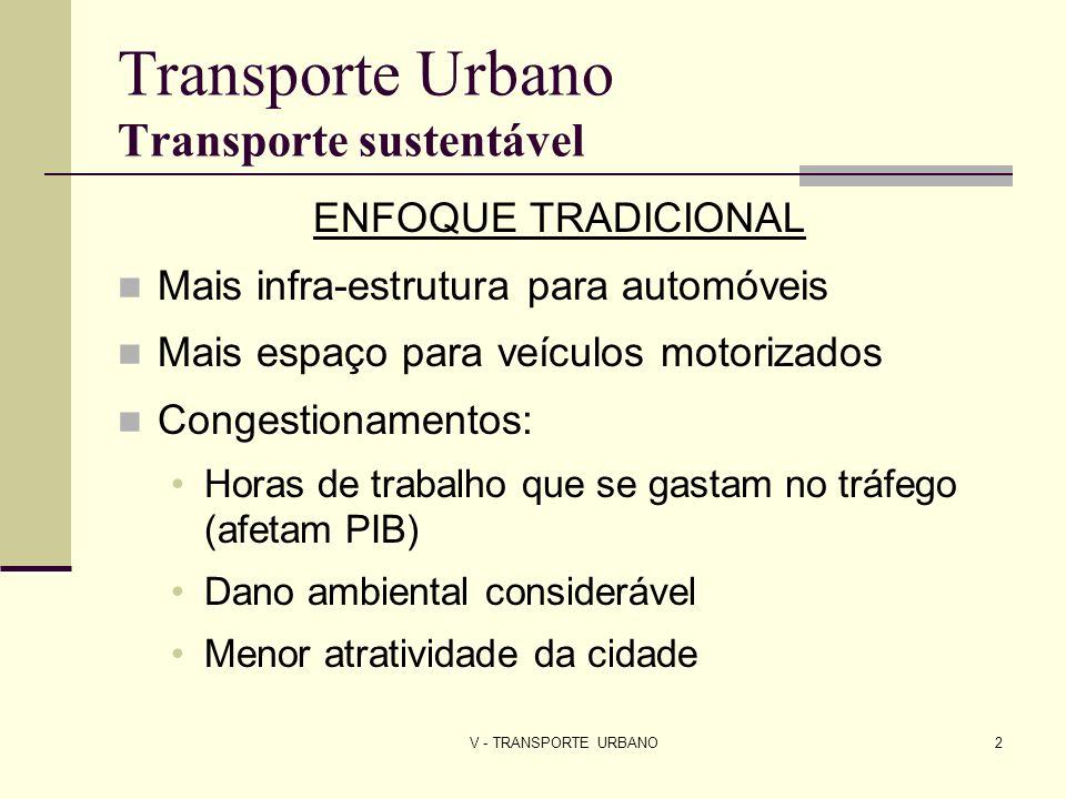 V - TRANSPORTE URBANO3 Transporte Urbano Transporte sustentável PRIORIDADES Ambiental Pessoas, crianças, idosos Transporte não motorizado e transporte público INSTRUMENTOS ECONÔMICOS Incentivos de impostos Sobretaxa da gasolina Pedágios urbanos