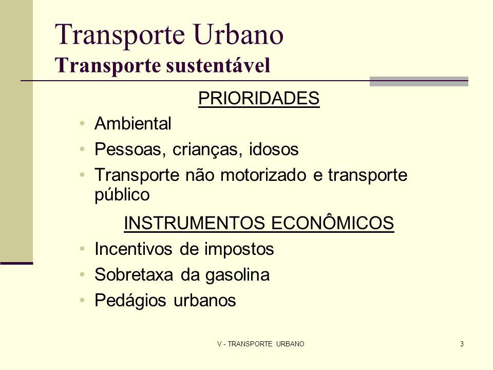 V - TRANSPORTE URBANO4 Transporte Urbano Transporte sustentável TRANSPORTE SUSTENTÁVEL Consumidores têm alternativas viáveis de escolha de transporte Mistura de estabelecimentos residenciais, comerciais, serviço e institucionais Cidades mais compactas - menor uso de terras agrícolas