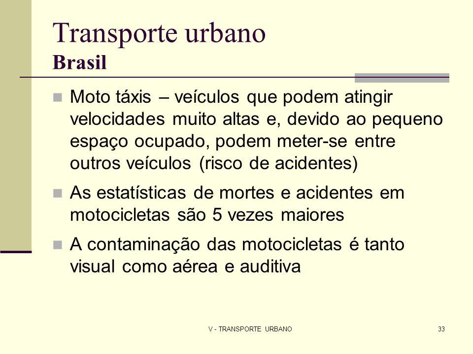 V - TRANSPORTE URBANO33 Transporte urbano Brasil Moto táxis – veículos que podem atingir velocidades muito altas e, devido ao pequeno espaço ocupado,