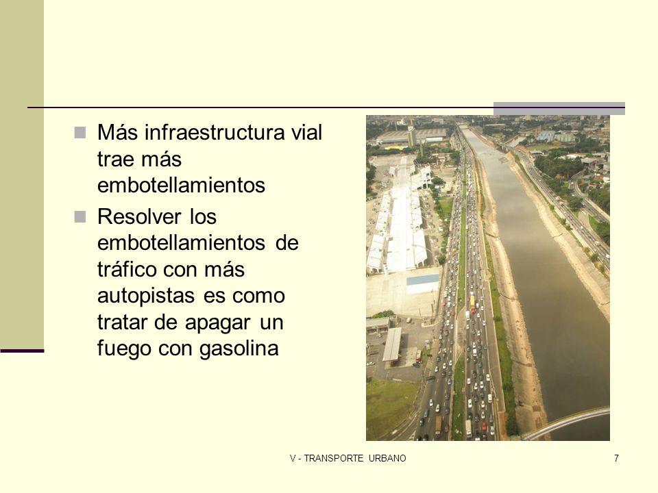 V - TRANSPORTE URBANO7 Más infraestructura vial trae más embotellamientos Resolver los embotellamientos de tráfico con más autopistas es como tratar d