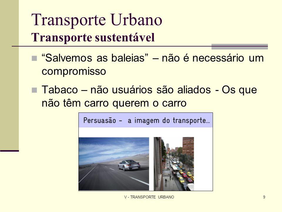 V - TRANSPORTE URBANO30 Transporte urbano Brasil As gratuidades de passagens de ônibus são pagas pelos usuários 2008 – redução do IOF para motocicletas e redução do IPI da indústria automobilística Automóveis – responsáveis por 83% dos acidentes; 76% da poluição e sofrem apenas 38% dos congestionamentos dos quais são a maior causa, enquanto os que usam transporte público sofrem 62%