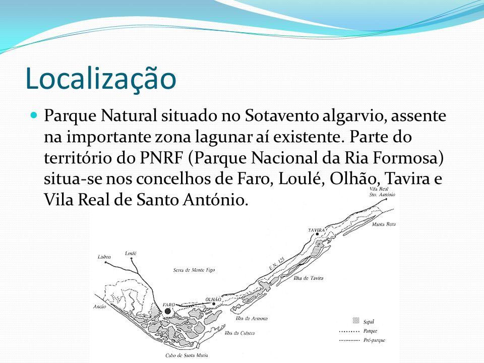 Localização Parque Natural situado no Sotavento algarvio, assente na importante zona lagunar aí existente. Parte do território do PNRF (Parque Naciona