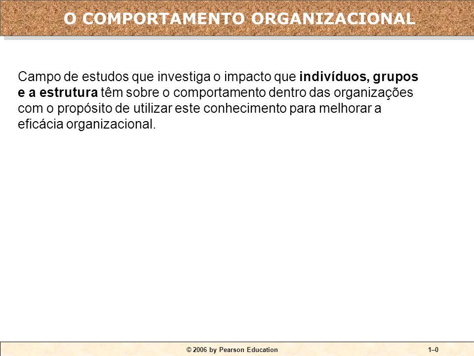 © 2006 by Pearson Education1–0 O COMPORTAMENTO ORGANIZACIONAL Campo de estudos que investiga o impacto que indivíduos, grupos e a estrutura têm sobre o comportamento dentro das organizações com o propósito de utilizar este conhecimento para melhorar a eficácia organizacional.