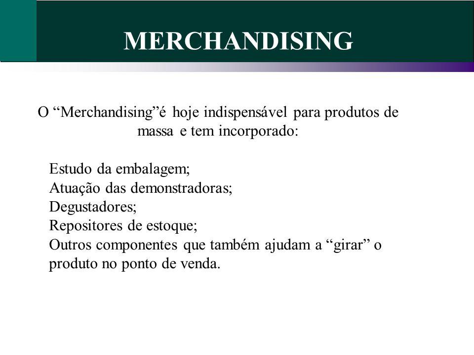 O Merchandisingé hoje indispensável para produtos de massa e tem incorporado: Estudo da embalagem; Atuação das demonstradoras; Degustadores; Repositor
