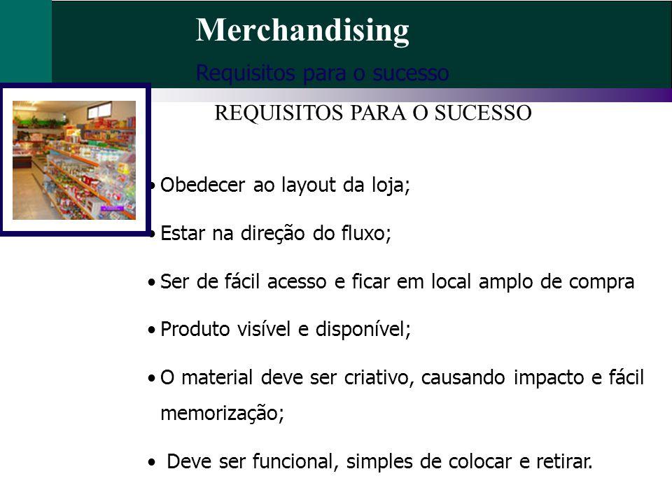 Merchandising Requisitos para o sucesso Obedecer ao layout da loja; Estar na direção do fluxo; Ser de fácil acesso e ficar em local amplo de compra Pr
