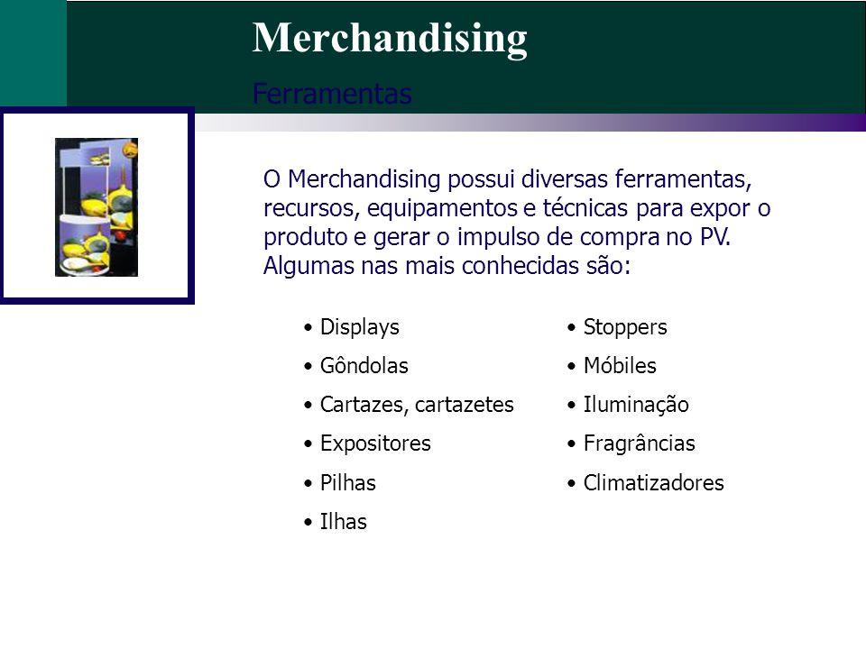 Merchandising Ferramentas O Merchandising possui diversas ferramentas, recursos, equipamentos e técnicas para expor o produto e gerar o impulso de com
