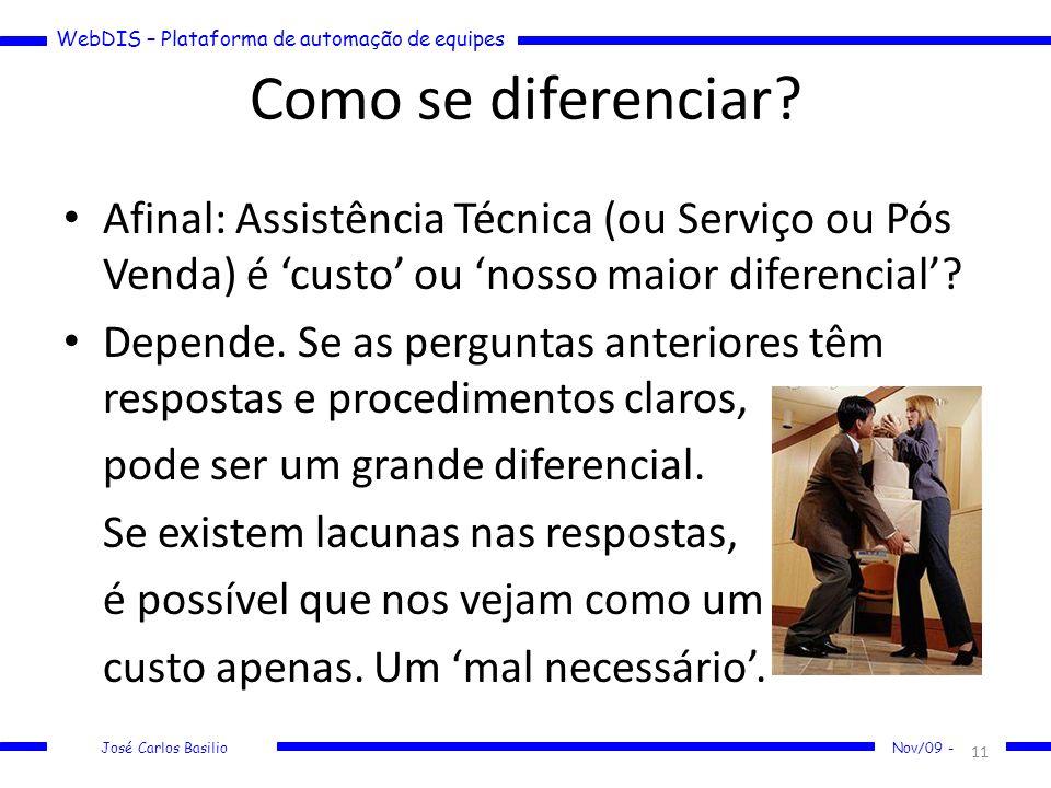 WebDIS – Plataforma de automação de equipes José Carlos Basilio Nov/09 - Como se diferenciar? Afinal: Assistência Técnica (ou Serviço ou Pós Venda) é