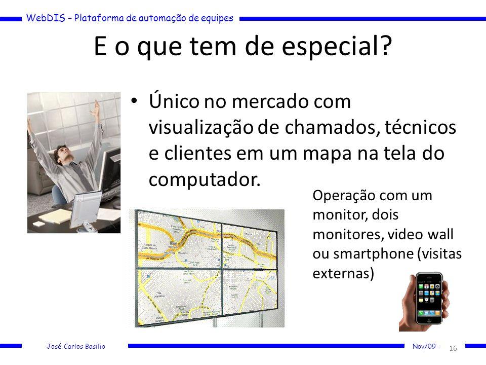 WebDIS – Plataforma de automação de equipes José Carlos Basilio Nov/09 - E o que tem de especial? Único no mercado com visualização de chamados, técni