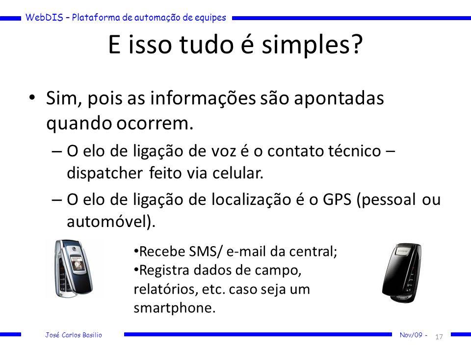 WebDIS – Plataforma de automação de equipes José Carlos Basilio Nov/09 - E isso tudo é simples? Sim, pois as informações são apontadas quando ocorrem.