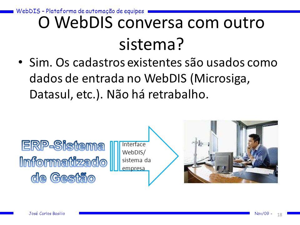 WebDIS – Plataforma de automação de equipes José Carlos Basilio Nov/09 - O WebDIS conversa com outro sistema? Sim. Os cadastros existentes são usados