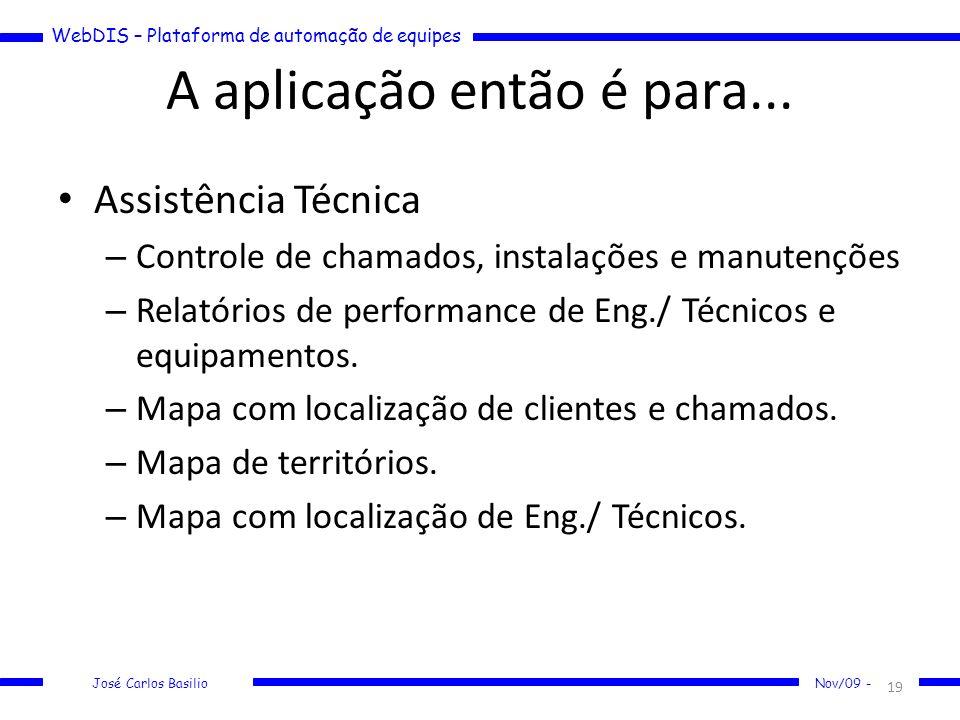 WebDIS – Plataforma de automação de equipes José Carlos Basilio Nov/09 - A aplicação então é para... Assistência Técnica – Controle de chamados, insta
