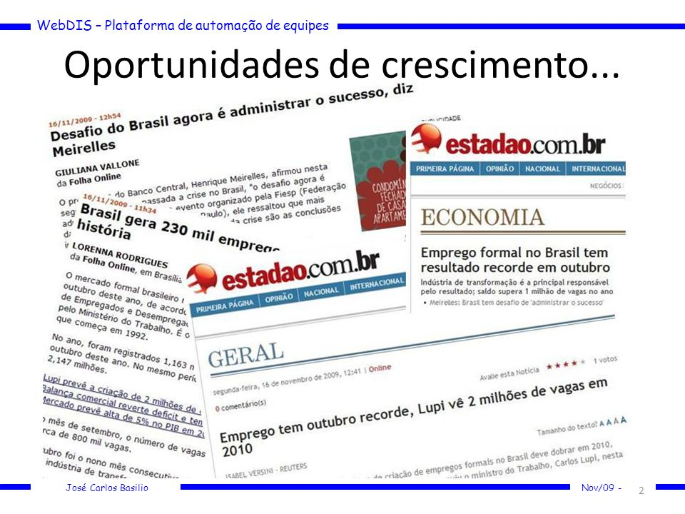 WebDIS – Plataforma de automação de equipes José Carlos Basilio Nov/09 - Oportunidades de crescimento... 2