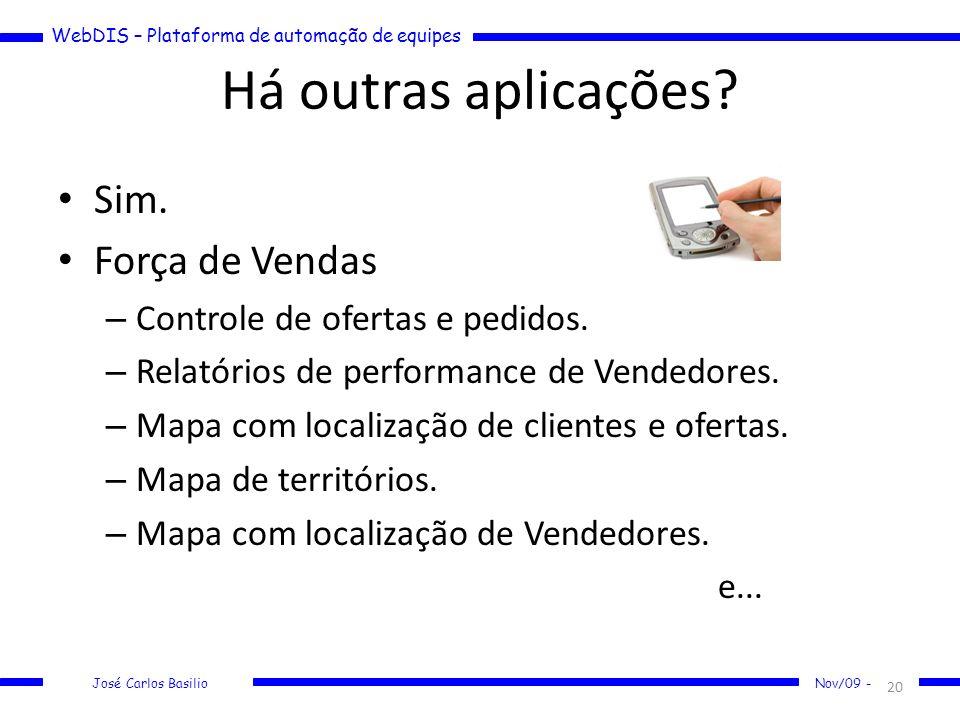 WebDIS – Plataforma de automação de equipes José Carlos Basilio Nov/09 - Há outras aplicações? Sim. Força de Vendas – Controle de ofertas e pedidos. –