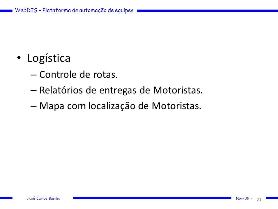 WebDIS – Plataforma de automação de equipes José Carlos Basilio Nov/09 - Logística – Controle de rotas. – Relatórios de entregas de Motoristas. – Mapa